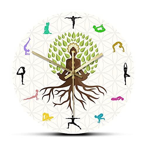 NIGU ofertas flash del dia Día del miembro regalos para las mujeres Lotus Pose árbol decorativo reloj de pared energía natural para la meditación arte de la pared yoga
