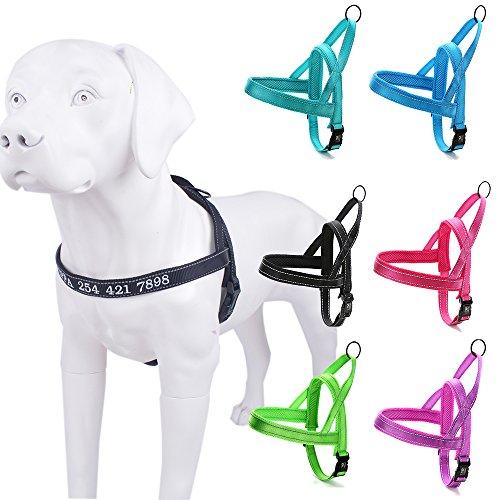 Amakunft Reflektierende Langlebig Anpassen Hundegeschirr mit Namen, Namen Bestickt Telefonnummer Pet Halsband, Persönlichen ID Hundegeschirr Easy Control mit Lock Security für Hunde