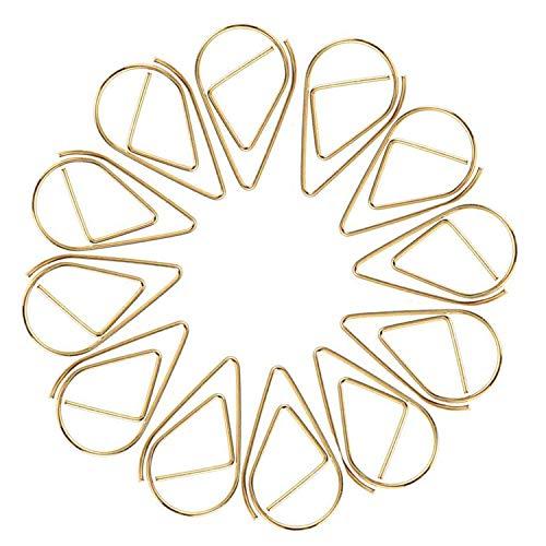 Büroklammer - JUYOO 100pcs Wasser Tropfen Form Lesezeichen Metall Golden - für Buch, Memo, Papier, Poster, Foto
