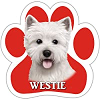 Westie Car Magnet With Unique Paw Shaped Design Measures 5.2 by 5.2 Inches Covered In High Quality UV Gloss For Weather Protection by E&S Pets