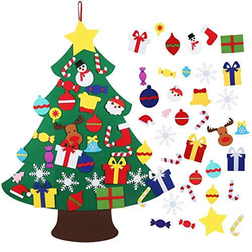 Árbol de Navidad de Fieltro, 3.8ft El árbol de Navidad del Fieltro de los DIY fijó con 35 Piezas Ornamentos Desmontables, niños Juguetes educativos Decoración de Pared