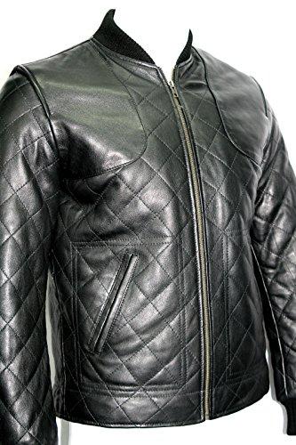 Homme Noir Hip courte longueur matelassé réel souple Nappa Vestes en cuir (UK 3XL / EU 58)