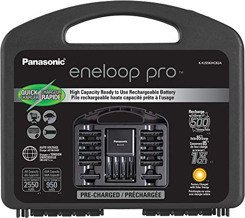 Panasonic K-KJ55KHC82A eneloop pro High Capacity Rechargeable Batteries Power Pack 8AA, 2AAA, 4 Hour Quick Battery Charger and Plastic Storage Case