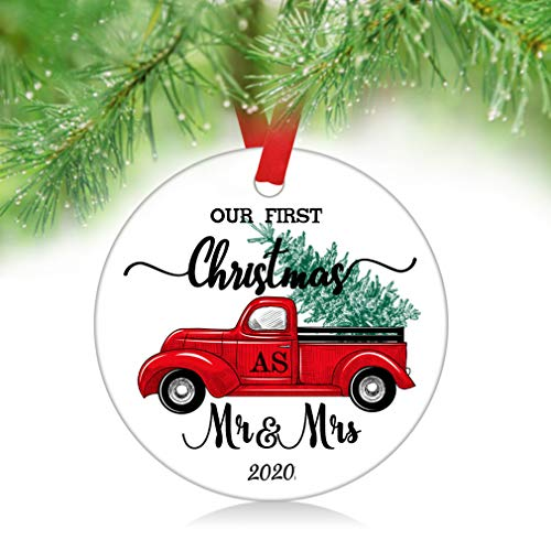 ZUNON Our First Christmas As Mr Mrs Ornaments 2020 Our First Christmas as Mr & Mrs Couple Married Wedding Decoration 3' Ornament (Car Mr Mrs)