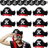 Set de 16 Sombreros de Capitán Pirata Estampados Calavera Parche de Ojo Pirata Disfraz Clásico de Fieltro Halloween Sombrero Pirata Gorra Pirata Divertida Máscara de Ojo Estampada Calavera