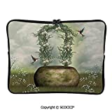 YOLIYANA Fairytale Scene with Flowers Stone and Hummingbird Wildflower Arch Laptop Sleeve Case Water-Resistant Protective Cover Portable Computer Carrying Bag Pouch for 17 inch/17.3 inch Laptop