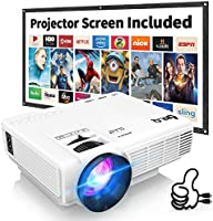 DR. Q HI-04 Projector with Projection Screen 1080P Full HD Supported, Upgraded 6500 Lumens Video Projector Compatible...