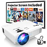 Proyector DR.Q HI-04 con Pantalla de Proyección, 5000 Lux Proyector de Video Soporta 1080P HD, Proyector Mini Compatible con TV Stick PS4 Xbox Wii HDMI VGA SD AV USB, Home Theater Proyector, Blanco.
