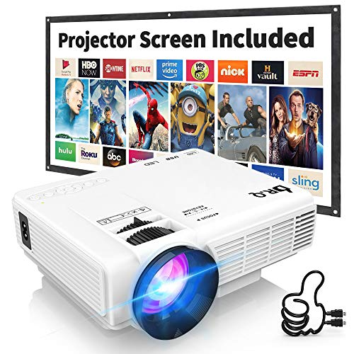 Proyector DR.Q HI-04 con Pantalla de Proyección, 5000 Lumen Proyector de Video Soporta 1080P HD, Proyector Mini Compatible con TV Stick PS4 Xbox Wii HDMI VGA SD AV USB, Home Theater Proyector, Blanco.