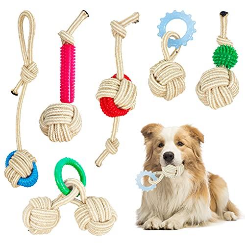 Auflosung Juguetes para Perros, 6 Piezas Durable Masticable Cuerda,para Cachorros Que Limpian Los Dientes Seguro Juguete Interactuar Adecuado Adecuado para Perros Grandes Medianos y Pequeños