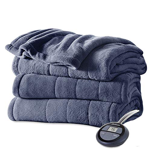 Sunbeam Soft Channeled Velvet Plush Electric Heated Warming Blanket Twin Lagoon Blue Washable Auto Shut Off 10 Heat Settings