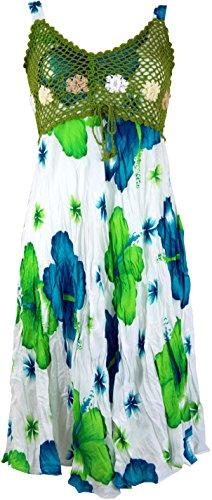 Guru-Shop Boho Minikleid, Sommerkleid Hawaii, Krinkelkleid, Damen, Weiß/Lemon, Synthetisch, Size:38, Kurze Kleider Alternative Bekleidung