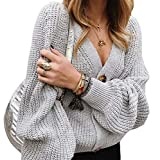 ChengZhong Womens Fashion V Neck Button Down Long Sleeves Cable Knit Cardigan Sweaters Outerwear Tops Gery L