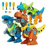 Lekebaby Dinosaurier Montage Spielzeug, 4 Stück DIY Dinosaurier Spielzeug mit Werkzeugen, Dinosaurier Geschenk für Jungen Mädchen 3 4 5 Jahre