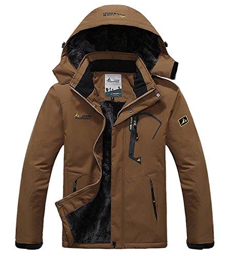 Pooluly Men's Waterproof Windproof Rain Snow Jacket Hooded Fleece Ski Coat (Brown), (M)