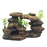 Adornos de peces, Simulación Rockery Paisajismo Decoración de Peces Acuario Decoración de Resina Rock Montaña Cueva Adornos Betta Fish Pequeño Camarón Tortuga Casa Para Dormir Resto Ocultar