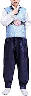 CRB Fashion Korean Outfit Boys Toddler Mens Dolbok Hanbok Top Pants Costume (Height 130cm, Serene Blue)
