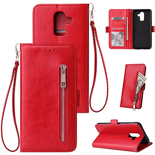 Happy-L Caso Samsung Galaxy J6 Plus, Estuche de Cartera de Cuero PU, Caja de teléfono Inteligente Horizontal Flip Style para Samsung J6 Plus (Color : Red)