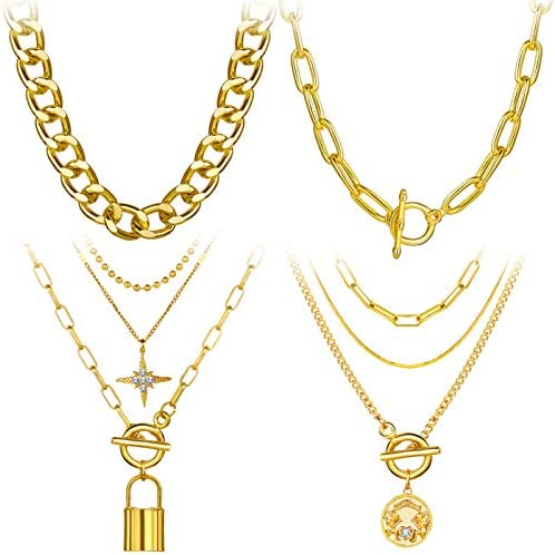4PCS Gold Layered Chain Necklace set for Women Girls Boho Pendant with Lock Coin Chunky Link product image