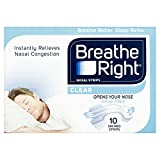 Breathe Right Nasal Strips, Stop Snoring Aids for Men & Women, Small/Medium Anti Snore Strips, Clear, Pack of 10