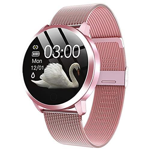 reloj inteligente inteligente Relojes Q8 impermeable pulsera inteligente con la correa del metal de prueba del ritmo cardíaco del contador de paso del ciclo menstrual de la mujer Rosa
