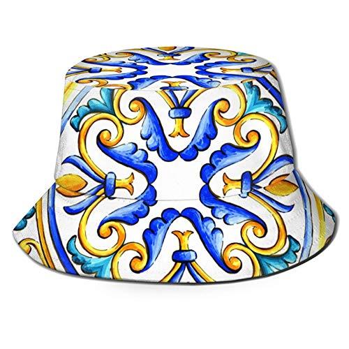 136 Happy Easter Italian Majolica Azulejos Florales Vintage Unisex Sombrero de pescador al aire libre Sombrero de viaje casual playa sombrero sol sombrero