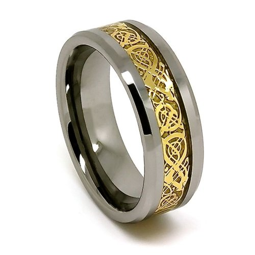 Blue Chip Unlimited 8mm Polished Tungsten Wedding Band with Golden Colored Celtic Dragon Inlay Size (10)