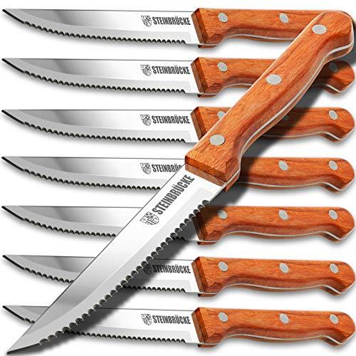 Steak Knife 8 Piece Wood Handle Steak Knives - Built 5Cr15Mov Stainless Steel HRC57-58 Hardness Razor Sharp Full Tang (Not Dishwasher Safe)