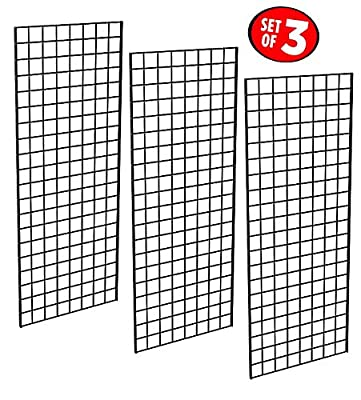 Only Garment Racks #1898BLK (3PCS) Only Garment Racks Commercial Grade Gridwall Panels – Heavy Duty Grid Panel for Any Retail Display, 2' Width x 5' Height, 3 Gridwall Panels Per Carton (Black Finish)