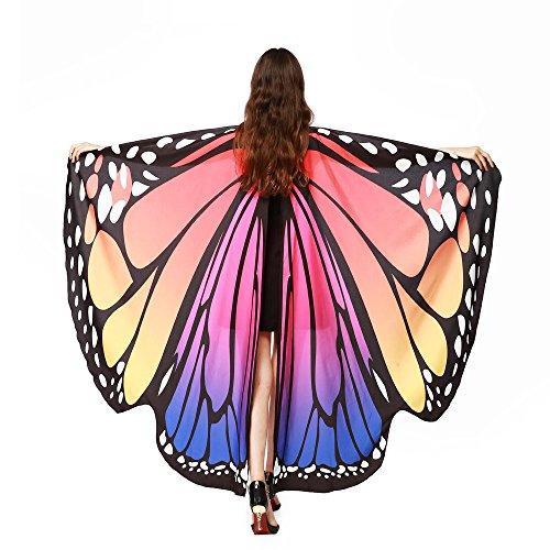 Quaan Kind Frau Weich Stoff Schmetterling Flügel, Fee Nymphe Elf Kostüm Zubehörteil Schal Schals Poncho cute kostüme vampir dracula mönchskutte umhang schwarz horror kostüm vampir umhang kinder