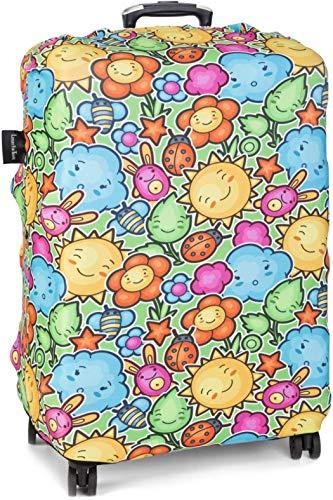 LuxuryforTravel - elastische Kofferschutzhülle auffallende Kofferhülle Kofferüberzug Luggage Protector Cover Kofferbezug Reisekofferabdeckung Koffer Schutz (BE Happy L)