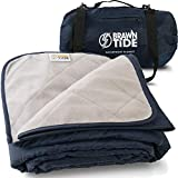 Brawntide Large Outdoor Waterproof Blanket - Thick Fleece, Warm, Windproof, Sandproof, Stuff Sack, Shoulder Strap, Ideal...