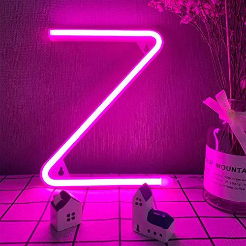 Lettres LED Z Neon Lights Rose Alphabet Lights Marquee Lettres Night Lights Night Lights Lampes Party Decor Lampes Pile/USB Mots motorisés S'allume pour Mur Mur Mariage Annonce Party Décorations de