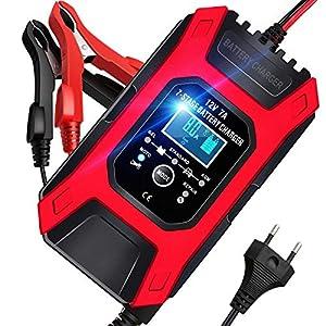AOKBON Cargador Baterias Coche 7A 12V Cargadores Baterias Carga Rapida Múltiples Protecciones Pantalla LCD para Coche Moto ATVs RVs Barco