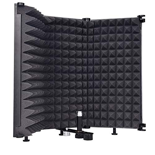 Sararoom Foldable Microphone Isolation Shield, Adjustable Studio Recording Mic Isolator with High Density Absorbing Foam for Filter Vocal-3 Panels (17.7 x 12.8 inch)