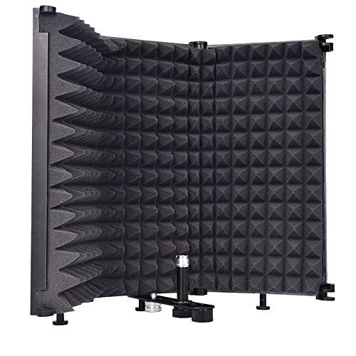 Sararoom Faltbarer Mikrofon-Isolationsschutz, einstellbarer Studio-Aufnahmemikrofon-Isolator mit hochdichtem absorbierendem Schaum für Filter-Vocal-3-Panels