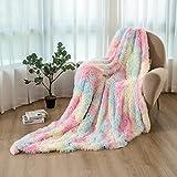 Kuscheldecke XL 160x200cm- Flauschige Regenbogen Wohndecke für Mädchen, Warme Bequeme Kunstpelzdecke Tagesdecke TV-Decke Sofadecke
