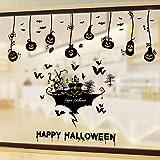 ZIWEI Decoraciones de Halloween Pegatinas de puerta de cristal Props Lámpara de calabaza Tienda Ventana Escena Disposición Pared Pegatinas