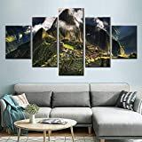 Llxhgモダンなリビングルームの装飾5個マチュピチュペルー山の写真雲の風景ポスター壁アートキャンバス絵画-80X150Cmフレームなし