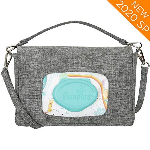 liuliuby Mini Diaper Bag - Crossbody Diaper Bag, Diaper Clutch or Wristlet - Portable Diaper Changing Kit with Wipes Dispenser Pocket - 2020 New Launch (Heather Gray)