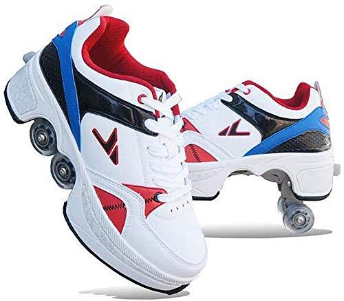 LIJIANZI Trustworthy/Rolschoenen wielen skate sneaker schoenen voor jongens meisjes kinderen - unisex roller skate schoenen 2 in 1 krimpbaar wiel worden sportschoenen wielen schoenen (Size : 35)