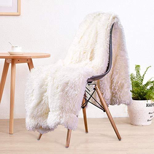 LOCHAS Super Soft Shagge Kunstfell Decke Plüsch Fuzzy Bettwurf Dekorative Kuschelige Flauschige Decken für Couch Chair Sofa, 127X152cm, Weiß