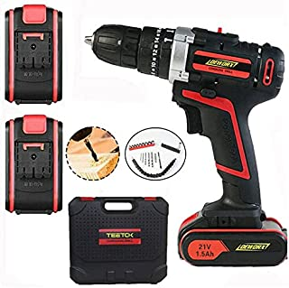 TEETOK Hammer Drill 21V Electric Impact Driver Li-ion Battery Drill and Screwdriver Drills Set Cordless with 30pcs Accesso...