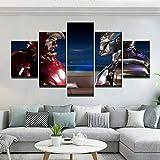 FHEWUI Cuadro sobre Lienzo - 5 Piezas - Impresión En Lienzo - Listo para Colgar - En Un Marco - Sala De Estar Decoración Pinturas Pared Iron Man Marvel Vengadores Supervillian-200 x 100 cm