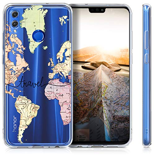 kwmobile Huawei Honor 8X Hülle - Handyhülle für Huawei Honor 8X - Handy Case in Travel Schriftzug Design Schwarz Mehrfarbig Transparent - 5