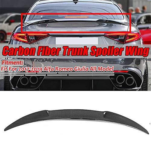 Super11Six Carbon Faser Aussehen Auto Heck Kofferraum Kofferraum Spoiler Wing Lip, Fit Für Alfa Romeo Julia 2017-2019 Rennstil Heckflügel,Schwarz