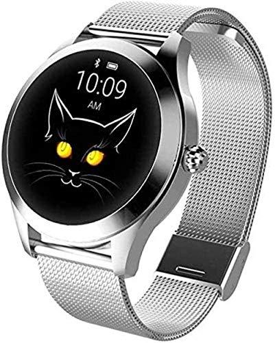 JSL Reloj inteligente para mujer, reloj de moda, frecuencia cardíaca, detección de presión arterial, podómetro deportivo (color: blanco)-B
