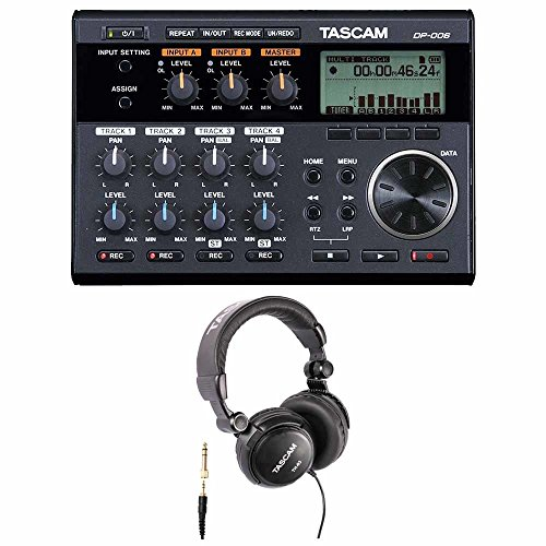 Tascam DP-006 Digital Pocketstudio 6-Track Portable Multi-Track Recorder Bundle with Closed Back Over-Ear Headphone (2 Items)