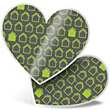 Impresionante 2 pegatinas de corazón de 7,5 cm – Eco Green House Pattern calcomanías para portátiles, tabletas, equipaje, libros de chatarras, neveras, regalo genial #21488