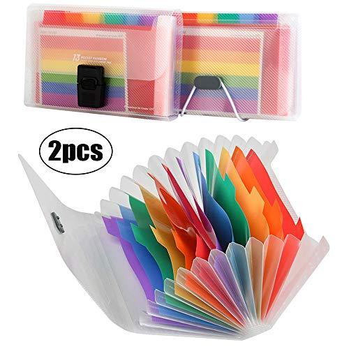 Acordeon A6 Carpeta Archivadora, Clear Rainbow Expanding File Folder, Se Puede Usar en el Hogar u Oficina, Almacenamiento Archivos, 13 Bolsillos(2 estilos)